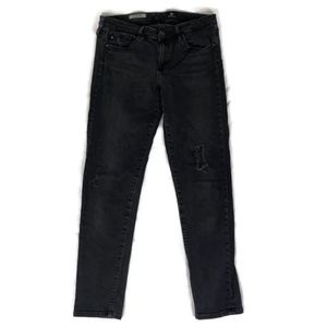 AG Adriano Goldschmied Dark Gray Distressed Jeans